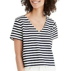 • MADEWELL • Navy & white striped short sleeve tee